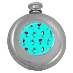 Hotline Bling Blue Background Round Hip Flask (5 Oz) by Onesevenart
