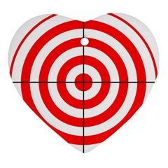 Sniper Focus Target Round Red Heart Ornament (two Sides) by Alisyart
