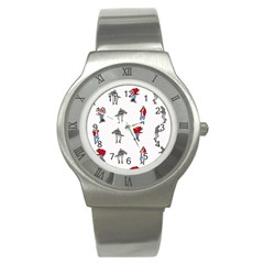 Hotline Bling White Background Stainless Steel Watch by Onesevenart