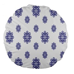 Snow Blue White Cool Large 18  Premium Round Cushions by Alisyart
