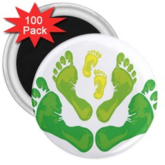 Soles Feet Green Yellow Family 3  Magnets (100 Pack) by Alisyart