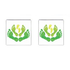 Soles Feet Green Yellow Family Cufflinks (square) by Alisyart