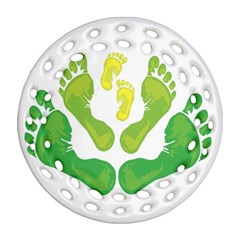 Soles Feet Green Yellow Family Round Filigree Ornament (two Sides) by Alisyart