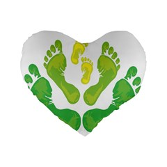 Soles Feet Green Yellow Family Standard 16  Premium Heart Shape Cushions by Alisyart