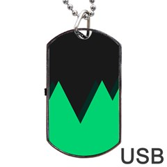 Soaring Mountains Nexus Black Green Dog Tag Usb Flash (two Sides) by Alisyart