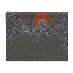 Sun Line Lighs Nets Green Orange Geometric Mountains Cosmetic Bag (xl) by Alisyart