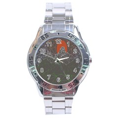 Sun Line Lighs Nets Green Orange Geometric Mountains Stainless Steel Analogue Watch by Alisyart