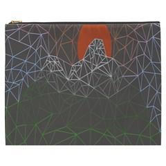 Sun Line Lighs Nets Green Orange Geometric Mountains Cosmetic Bag (xxxl)  by Alisyart