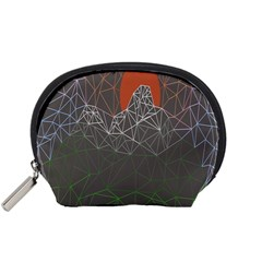 Sun Line Lighs Nets Green Orange Geometric Mountains Accessory Pouches (small)  by Alisyart