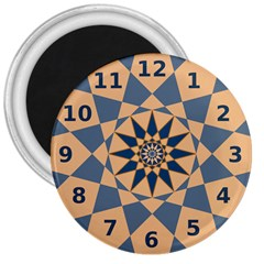 Stellated Regular Dodecagons Center Clock Face Number Star 3  Magnets by Alisyart