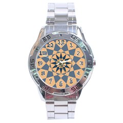 Stellated Regular Dodecagons Center Clock Face Number Star Stainless Steel Analogue Watch by Alisyart