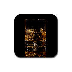 Drink Good Whiskey Rubber Square Coaster (4 Pack)  by Onesevenart