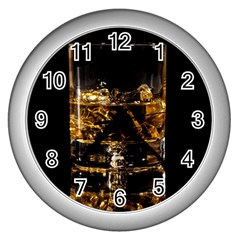 Drink Good Whiskey Wall Clocks (silver)  by Onesevenart