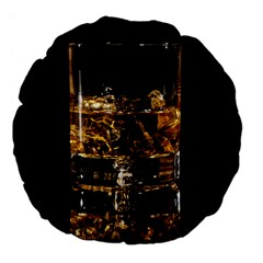 Drink Good Whiskey Large 18  Premium Flano Round Cushions by Onesevenart