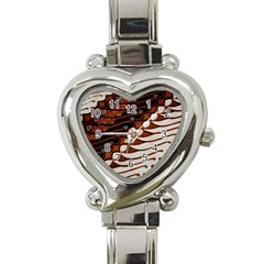 Traditional Batik Sarong Heart Italian Charm Watch by Onesevenart