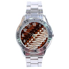 Traditional Batik Sarong Stainless Steel Analogue Watch by Onesevenart
