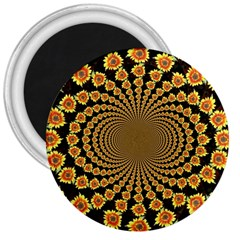 Psychedelic Sunflower 3  Magnets by Photozrus