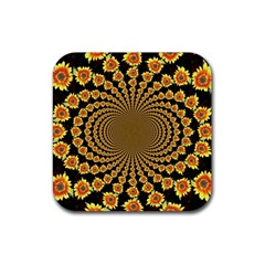 Psychedelic Sunflower Rubber Square Coaster (4 Pack)  by Photozrus