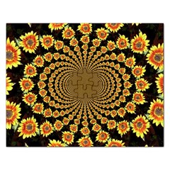 Psychedelic Sunflower Rectangular Jigsaw Puzzl by Photozrus