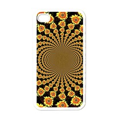 Psychedelic Sunflower Apple Iphone 4 Case (white) by Photozrus