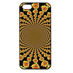Psychedelic Sunflower Apple Iphone 5 Seamless Case (black) by Photozrus