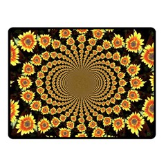 Psychedelic Sunflower Double Sided Fleece Blanket (small)  by Photozrus