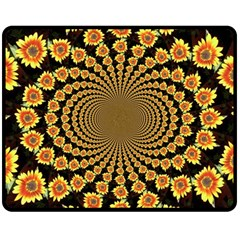 Psychedelic Sunflower Double Sided Fleece Blanket (medium)  by Photozrus