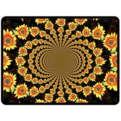 Psychedelic Sunflower Double Sided Fleece Blanket (large)  by Photozrus