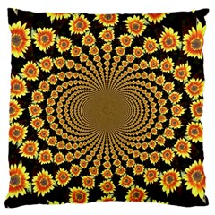 Psychedelic Sunflower Large Flano Cushion Case (one Side) by Photozrus