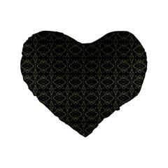 Dark Interlace Tribal  Standard 16  Premium Flano Heart Shape Cushions by dflcprints