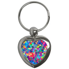Colorful Abstract Triangle Shapes Background Key Chains (heart)  by TastefulDesigns