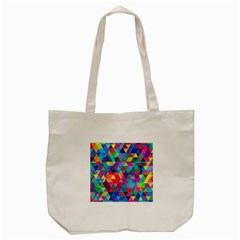 Colorful Abstract Triangle Shapes Background Tote Bag (cream) by TastefulDesigns