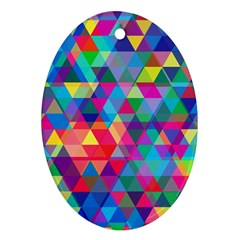 Colorful Abstract Triangle Shapes Background Oval Ornament (Two Sides) by TastefulDesigns
