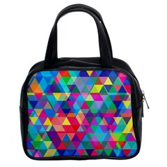 Colorful Abstract Triangle Shapes Background Classic Handbags (2 Sides) by TastefulDesigns