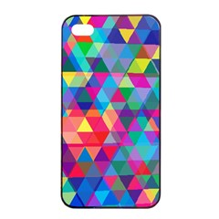Colorful Abstract Triangle Shapes Background Apple Iphone 4/4s Seamless Case (black) by TastefulDesigns