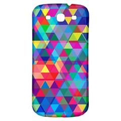 Colorful Abstract Triangle Shapes Background Samsung Galaxy S3 S Iii Classic Hardshell Back Case by TastefulDesigns