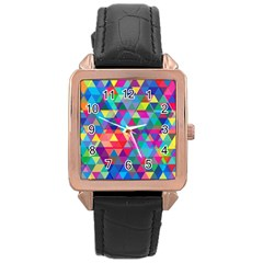 Colorful Abstract Triangle Shapes Background Rose Gold Leather Watch  by TastefulDesigns