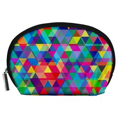 Colorful Abstract Triangle Shapes Background Accessory Pouches (large)  by TastefulDesigns