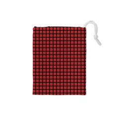 Red Plaid Drawstring Pouches (small)  by PhotoNOLA