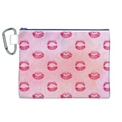 Watercolor Kisses Patterns Canvas Cosmetic Bag (xl) by TastefulDesigns