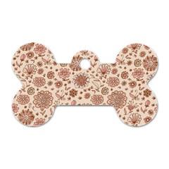 Retro Sketchy Floral Patterns Dog Tag Bone (one Side) by TastefulDesigns