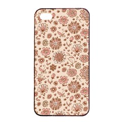 Retro Sketchy Floral Patterns Apple Iphone 4/4s Seamless Case (black) by TastefulDesigns