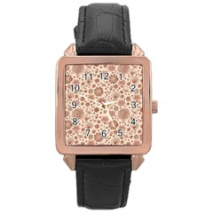 Retro Sketchy Floral Patterns Rose Gold Leather Watch  by TastefulDesigns
