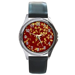 Background Design Leaves Pattern Round Metal Watch by Simbadda