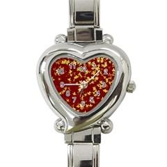 Background Design Leaves Pattern Heart Italian Charm Watch by Simbadda