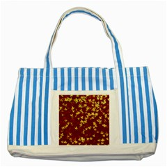 Background Design Leaves Pattern Striped Blue Tote Bag by Simbadda