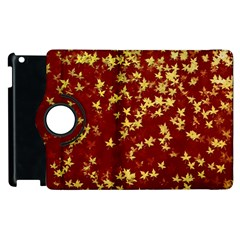 Background Design Leaves Pattern Apple Ipad 2 Flip 360 Case by Simbadda