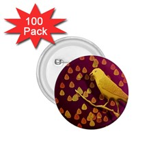 Bird Design Wall Golden Color 1 75  Buttons (100 Pack)  by Simbadda