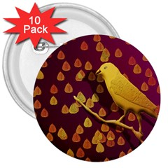 Bird Design Wall Golden Color 3  Buttons (10 Pack)  by Simbadda