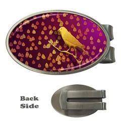 Bird Design Wall Golden Color Money Clips (oval)  by Simbadda